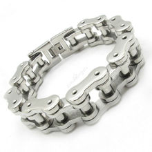 15MM Huge&Heavy Men's Boy's Biker Silver Polishing Chain Motorbike Bracelet Charm Gift Bangle 316L Stainless Steel Free Shipping(China)