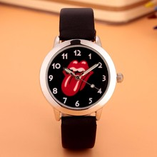Cartoon Beautiful girl Red tongue style Color number dial children students girl's leather quartz watch(China)