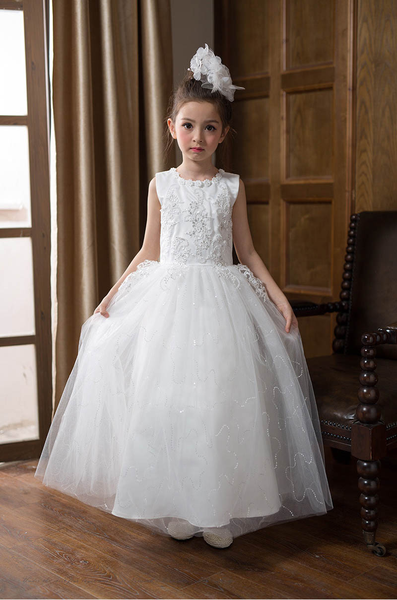 [Eleven Story] Girls lace floral dress kids summer party show Sleeveless clothing children wholesale clothes  AQ510DS-07  <br>