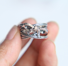 Silver Rings For Women Compatible With silver Jewelry 100% 925 Sterling Silver pave cz cute bow tie girl ring(China)