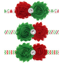 Big two Sun Flower chiffon Headband Elastic rhinestone hair band 3 Colors Christmas tree pattern Sweet Princess headwear