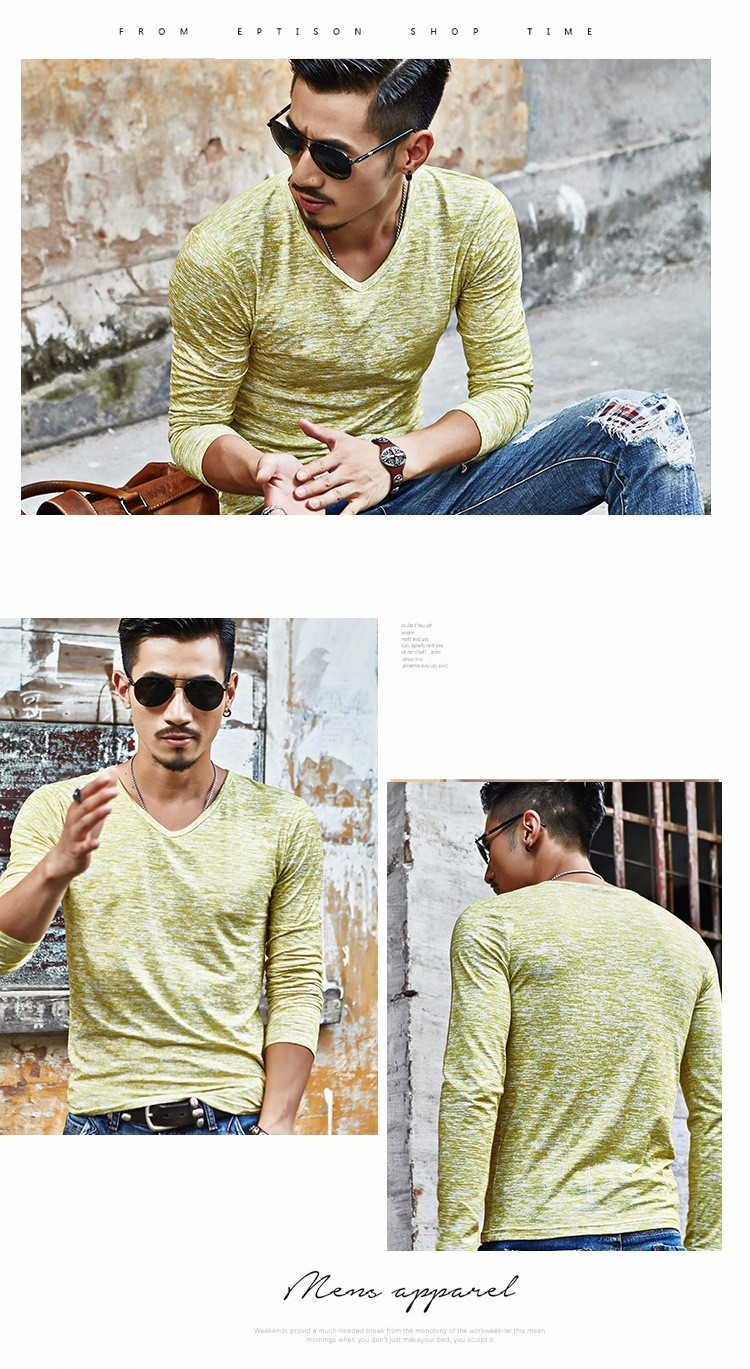 M-3XL Stretch Vintage Man Tops Spring Summer 18 Casual Man T-shirts V-neck Printed Long Sleeve Shirt Knitted Cotton Slim Shirt 5