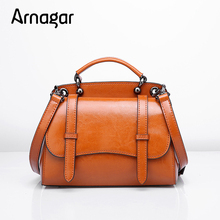 Arnagar Brand Fashion Real Leather Tote bag 2017 New Arrival Solid Color 4 Color Femininas Women Vags Brown Purple Black Gray(Hong Kong)