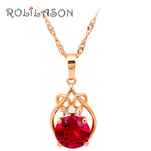 ROLILASON Brand gold tone Necklaces & Pendants for women cameo Red Zircon Crystal fashion jewelry LN037