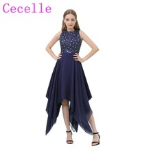 Dark Navy Blue High Low Sleeveless Glittler Cocktail Dresses 2018 Crystals Sequins Bodice Hi-Lo Teens Informal Prom Party Dress(China)