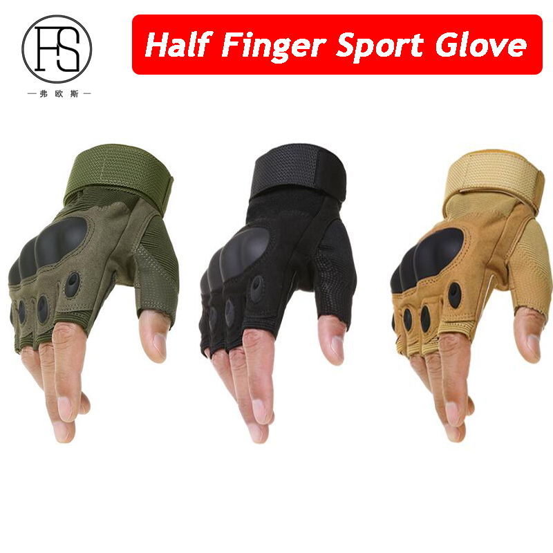 New Outdoor Tactical Gloves Half Finger Sports Training Hiking Riding Leather Cycling Gloves Military Men Mittens