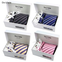 HOT SALE! Premium Woven Jacquard Necktie Cufflinks Hanky Tie Clip Gift Set Luxury Present with Giftbox and Handbag