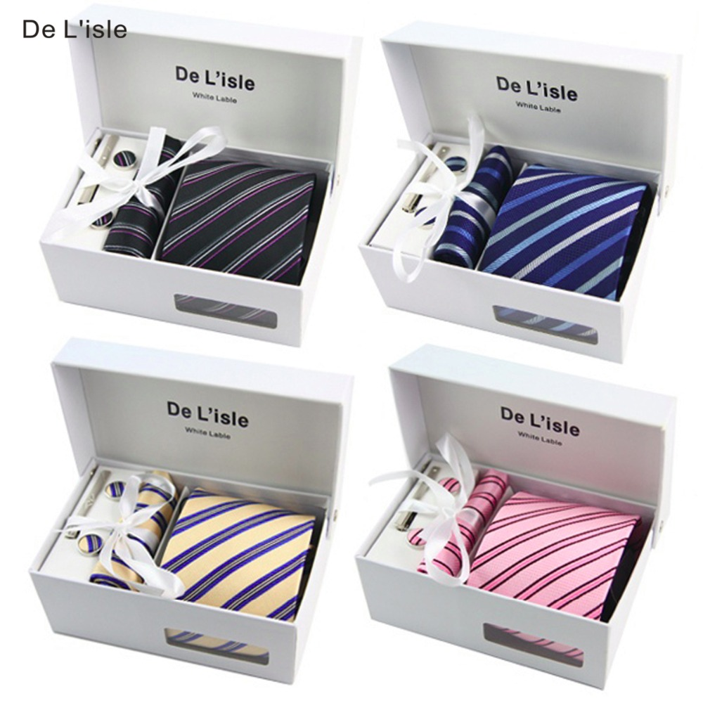 HOT SALE! Premium Woven Jacquard Necktie Cufflinks Hanky Tie Clip Gift Set Luxury Present with Giftbox and Handbag(China)