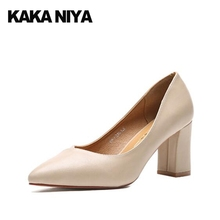 High Heels Size 4 34 Ladies Dress Shoes 3 Inch Block Formal Pointed Toe 2017 Court Beige Pumps New Chinese Spring China Autumn(China)