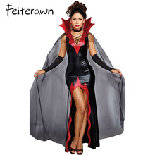 Feiterawn 2 PCS Dissolute Killing It Halloween Costume Red Spiked Collar Deep V Neck High Slit Maxi Party Dress with Mesh Cape(China)