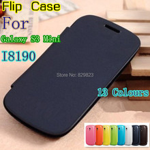 leather back cover cases battery housing Flip case for Samsung Galaxy S3 SIII Mini i8190 8190 +Screen protector