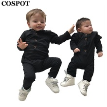 COSPOT Baby Boys Rompers Newborn Cotton Long Sleeve Plain Black Gray Jumpsuit Toddler Autumn Cotton Jumper Kids Pajamas 2017 E38(China)