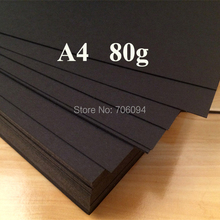 80gsm A4 Black Paper Wrapping Paper for Gift Soap Flower Book Printing Paper Black cardboard Freeshipping 200pcs/Lot