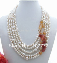5 strands White Pearl&Carnelian Necklace