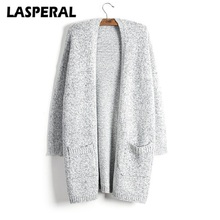 LASPERAL Knitted Sweater Women Fashion Casual Long Sleeve Grey Cardigan Coat Female Autumn Winter Plus Size Christmas SweaterZ30