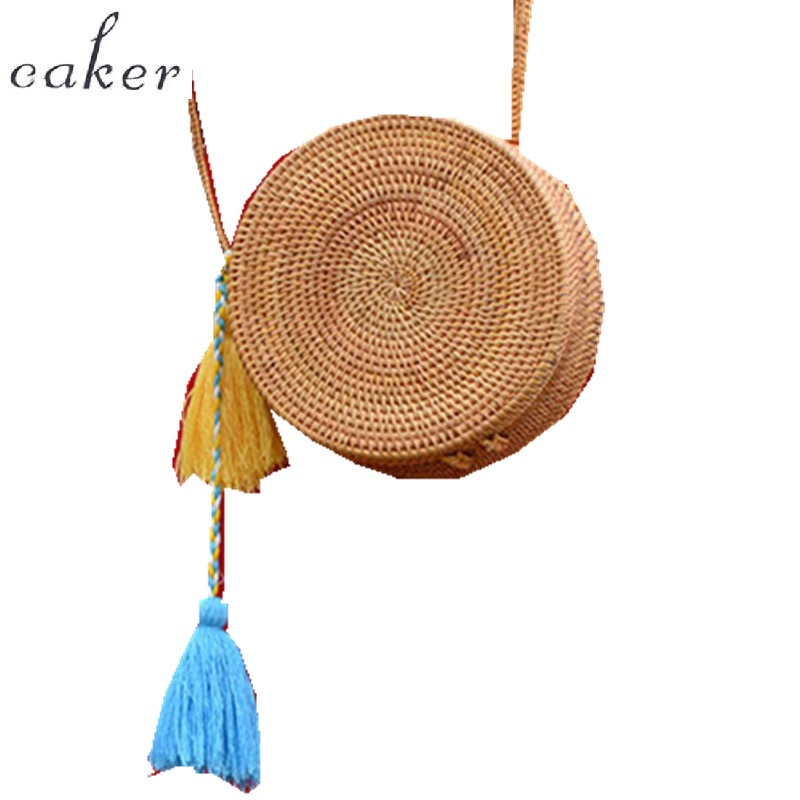 Caker Brand 2017 Women Straw Handbag For Lady Circle Nature Color Bag Woman Handbags Bag With Colorful Tassel Beach shoulderbag<br>
