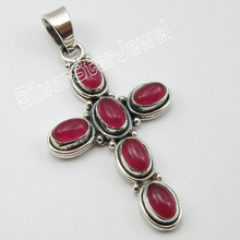 "Unique Designed Silver Natural RED Quartzs Handmade Pendant 1.8"" GEM STONE Jewelry(China)"