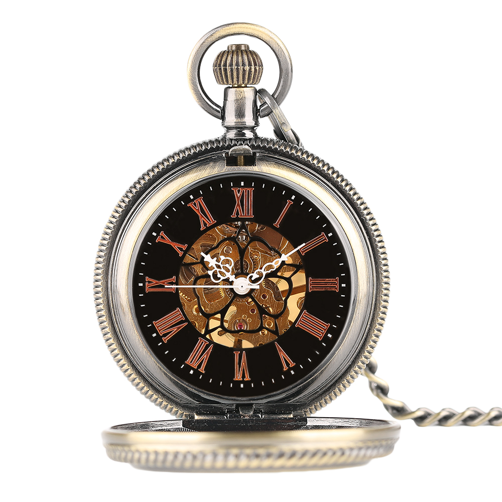 YISUYA Elegant Women Vintage Mechanical Pocket Watch Stempunk Skeleton Hand Winding Pendant Clock for Men Kid Xmas Watch Gift (3)