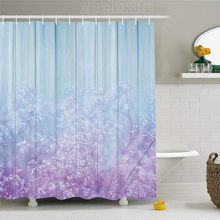 Floral Decorations Shower Curtain Set Baby's Breath on Vintage Wood with Aqua Colors Bedding Plants Design Winter Themed Bathro(China)
