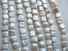 "Natural freshwater pearls 13-14mm shaped square beads semi - finished products jewelry long 14""Inch(China)"