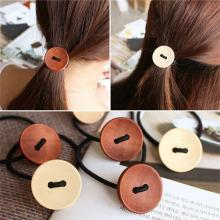2017 New Summer Style Solid wood Button Hair Accessories for Girls Kids Women Elastic Hair Bands Rubber Bands Headwear(China)