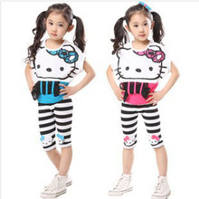 2017 Spring kids sport suit baby girl summer Hello Kitty Sleeveless Coat+  pant 2 PCs sets Children's clothing Free shipping