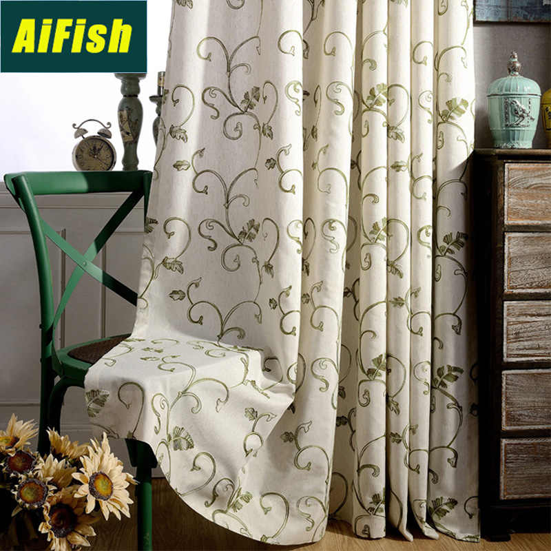 Embroidered Green Black Plants Leaves Semi Blackout Curtains for living room Bedroom Insulated Curtains Window Drapery WP1053