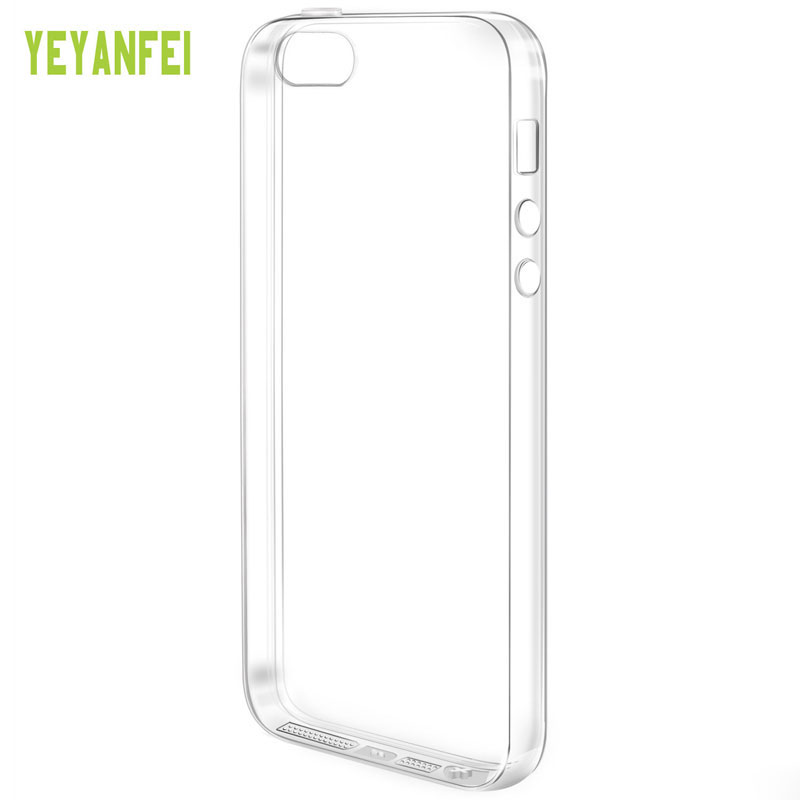 Yeyanfei pleasant touch crystal clear transparent soft silicone TPU dust plug protective back cover case for iPhone 5 5s SE(China (Mainland))