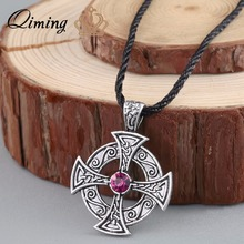 QIMING 2017 Silver Celtic Sun Solar Cross the Most Ancient Cross Viking Jewelry Best Friend Gift Black Leather Women Necklace(Hong Kong)