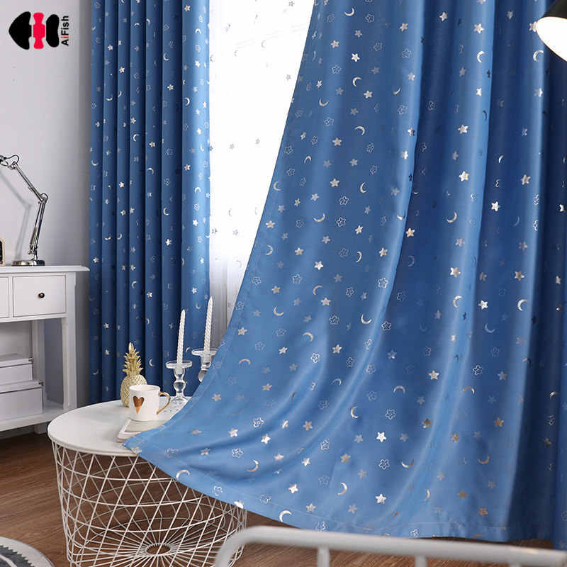 Star Moon Foil Printed Curtain for Children Room Kids Boy Girl Nursery Cartoon French Window Treatment Cortina JS44C