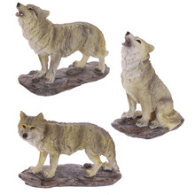 Free Shipping 3Pieces/set Fantasy Sculpture Howling Wolf Statue Wildlife Animal Wolves Creature Totem Surreal Wolf Statuette