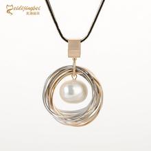 MEIDIJINGBEI fashion exquisite pearl necklace multi-layer plating pearls long necklace and pendant jewelry wholesale women(China)