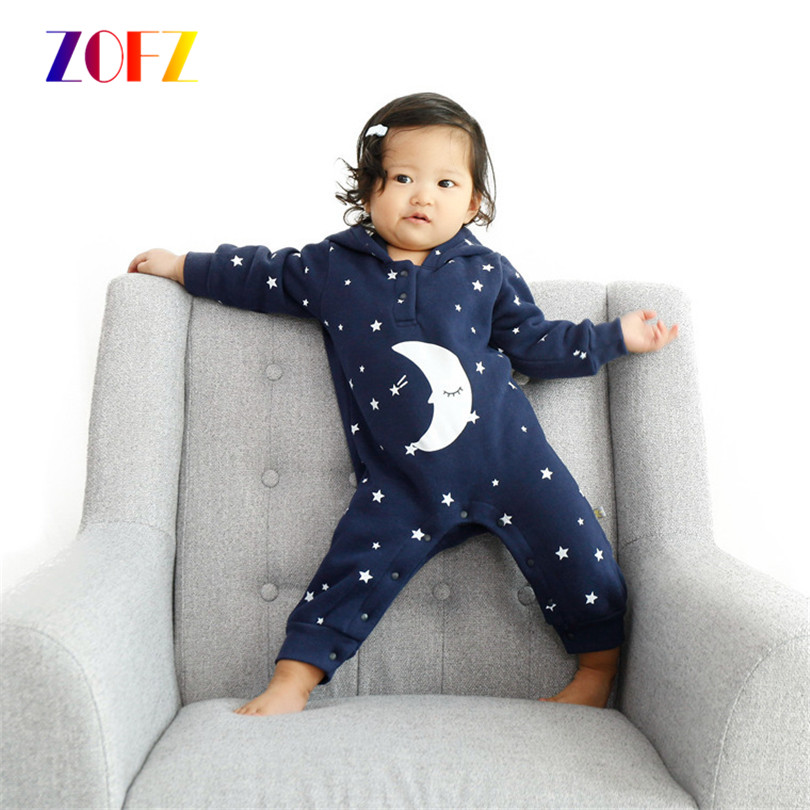 ZOFZ Baby Boys Girls Romper Cloth Winter Newborn Baby Clothes Cotton Flannel Warm Hooded Romper Moon Star Baby Jumpsuit Clothing<br><br>Aliexpress