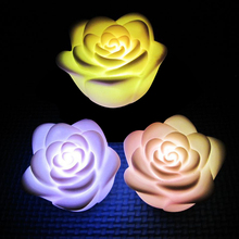 Decoration Romantic Colors Changing LED Lamp Candle Light Night Rose Flower P22