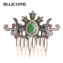 Blucome Vintage Women Hair Combs Brand Turkish Green Crown Big Water Drop Acrylic Hairwear Hair Accessories For Party Headwear