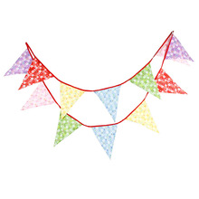1pcs 3.7M 12Flags Double Printed Flowers Home Cloth Decoration Flag Photo Shooting Banner Outdoor Birthday Wedding Deco Pennant(China)