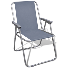 iKayaa Set of 2 Folding Chairs Gray for Camping Open Air Outdoor Chair FR Stock