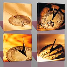 BANMU  Home Decor Canvas Wall Art 4 Panels No Framed Ancient Sundial  Clock Canvas Prints for Living Room Decoration