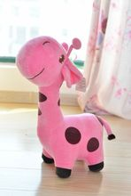 cute cartoon spots giraffe toys lovely pink giraffe plush doll birthday gift about 35cm