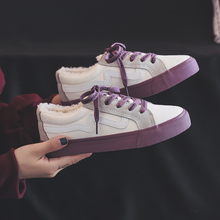 Canvas Shoes Woman Winter 2018 New Short 봉 제 Inside Lace Up Mixed Color 암 Sneakers 퍼 안감은 은은한 Fashion Design Size 35-40(China)