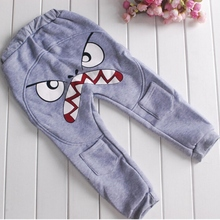 PY216  2-7Y Cute Bird Pattern Pants Kids Toddler Baby Boys Cotton Warm Harlan Pants Trousers