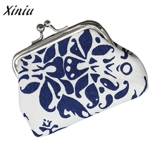 Retro Coin Purse Women Blue and white porcelain Small Wallet Hasp Purse Day Clutch Bag carteira feminina portefeuille femme(China)