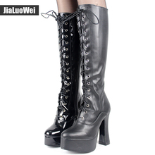 "jialuowei Women 5"" chunky High heel platform PU Leather lace up Knee-High Solid Zipper Boots - Exotic,Fetish,Sexy,Shoes(China)"