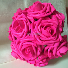 2015 New Hot Pink Brides Bouquet Flowers Artificial Fuschia Rose Wedding Floral Arrangement Bridal Posy Flowers Free Shipping