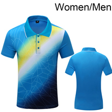 Free Printing Sportswear Quick Dry breathable Tennis shirt , Women / Men badminton shirt sports POLO T Shirts 1005(China)