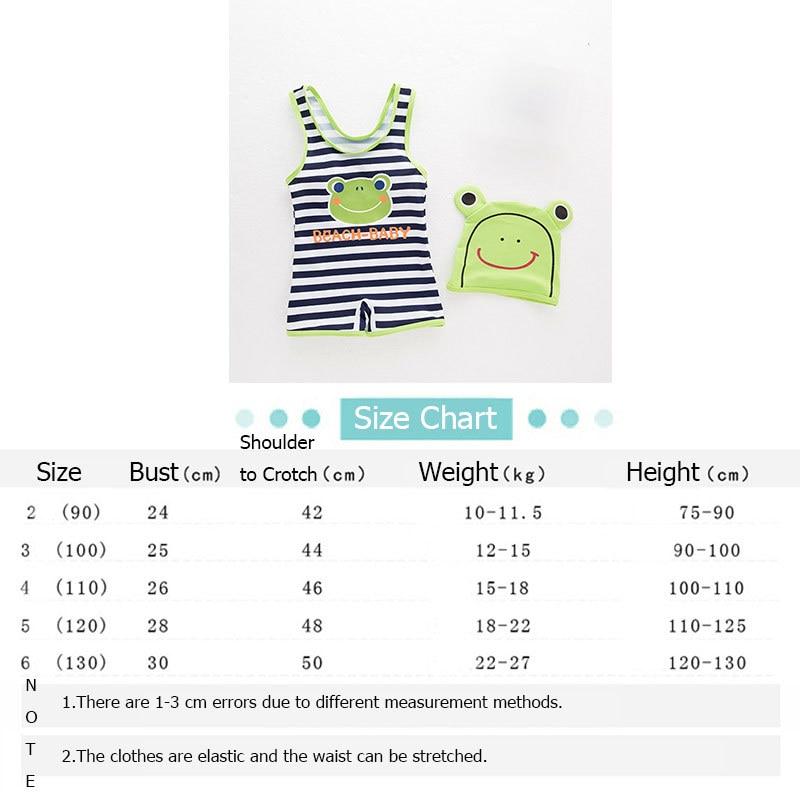 Baby Boy Girl Swimwear Kids Cartoon Frog One-piece Striped Swimsuit+Hat Set Children Summer Beach Bath Suit Swimming Clothes Boy (4)