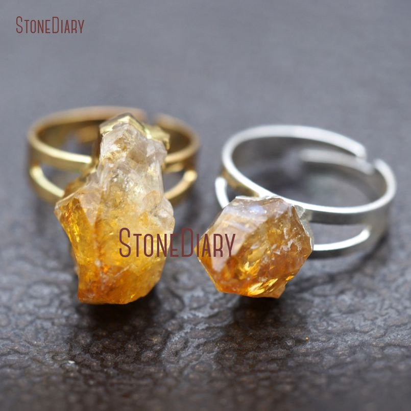 10Pcs Pure Gold Color, Sliver Plated Irregular Surface Free Form Ring Citrines Raw Ore Ring Adjustable RM8926