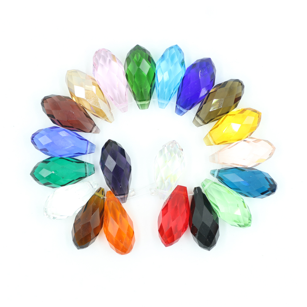 10 Clear Teardrop Beads Glass Briolette Crystal Faceted 13mm Jewelry Supplies