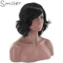 Similler Short Pixie Cut Synthetic Wigs For Black Women Curly Hair High Temperature Fiber(China)