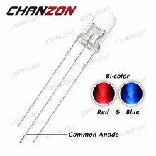 100pcs 5mm Bicolor Red Blue Diode Light Common Anode Two Color LED Lamp Light Round Top 5 mm Transparent Light-Emitting Diode(China)